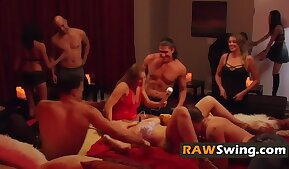 Swingers have a meeting with a lot of licking dares