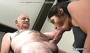 Big cock grandpa fucks his naughty skinny princess who teases him passionately